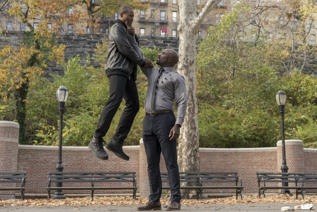 Jaiden Kaine and Mike Colter in a scene from the TV series Marvel's Luke Cage. Supplied by Netflix.